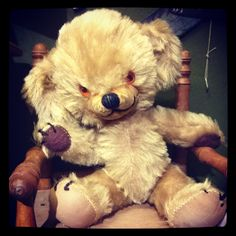 Old Cheeky Teddy Bear, made by Merrythought, England. Suomenlinna Toy Museum, Helsinki, Finland.