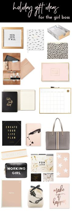 Gift Ideas For Her | Girl Boss Gift Ideas | Christmas Gift Ideas | Holiday Gifts | Girly Gifts | Blush and Gold Office | White and Gold Office