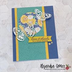 How to make a quick and easy thank you card using the Butterfly Brilliance Bundle from Stampin' Up! Bird Cards, Butterfly Cards, Diy Paper, Paper Crafts, Banner Shapes, Wink Of Stella, Heartfelt Creations, Card Sketches, Stamping Up