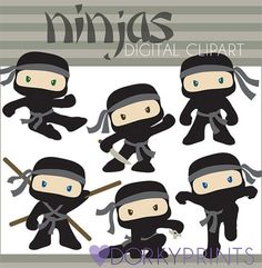 Ninja Clipart Set Personal and Limited Commercial by DorkyPrints