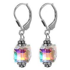 SCER013 Sterling Silver Crystal Designer Earrings Made with Swarovski Elements $17.99