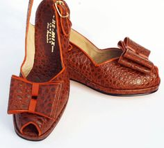 Remix Vintage Gloria Open Toe Slingback Wedge with Detachable Bow in Turtle Brown with Tangerine Orange Piping