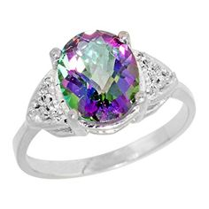 Promise Rings Simple   10K White Gold Natural Diamond Mystic Topaz Engagement Ring Oval 10x8mm size 10 >>> Visit the image link more details. (It is Amazon affiliate link) #photooftheday