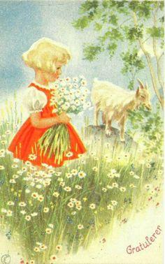 Gratulasjonskort jente med geit Erling Nielsen 1940-tallet Norsk arbeide