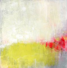Abstract Painting Original Acrylic 12x12 Yellow Neon Red white grey contemporary art on canvas gift for her