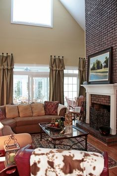 burlap curtains, not in love with that style, but have similar high ceilings/windows.  Hhhmmm????