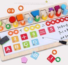 Los niños de madera, materiales Montessori aprendizaje contar números juego Digital forma encuentro tablero de dibujo de educación Juguetes Frases Montessori, Kindergarten Games, Shape Matching, Montessori Materials, Drawing Board, Educational Games, Shapes, Math, Learning