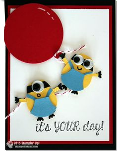 VIDEO: Minion Mania Gift Set Part II – Birthday Card. stampin up minions card-stampwithtamiIt's a Minion Party! Today's youtube video is for Part II of my Minion Series, the Birthday card. Which also could be a party invitation if you were having a Minions Party. These minions are so stinkin' cute, created from the Stampin Up Owl Punch, with google eyes…you can't help but smile when you see them.