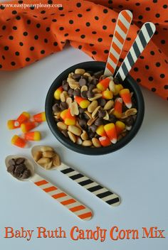 Baby Ruth Candy Corn Mix is an easy trick or treating snack and perfect for fall!