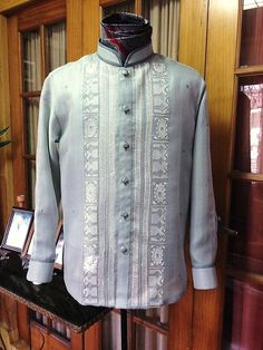 Bride & Groom House of Wedding Gown & Tailoring Barong Tagalog Wedding, Bridal Gowns, Wedding Gowns, Denim Button Up, Button Up Shirts, Old Clothes, Bride Groom, Pinoy, Suits
