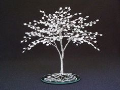 Beaded Wire Tree Sculpture Wedding Cake Topper by cassandraz, $48.50