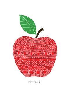 Une pomme -  HelloMarine  Giclée print Papier: Fine Art 300 gr - 30x30 cm - 100 ex - Edition numérotée et signée par l'artiste - 50 euros #pomme #apple #red #tricot #artprint #affiche #deco #hellomarine #fruit