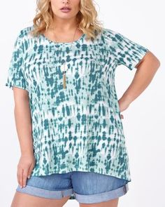 d/c JEANS Short Sleeve Printed Top with Crochet