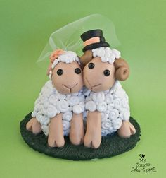Adorable Sheep Wedding Cake Topper by MyCustomCakeTopper on Etsy, $130.00