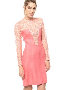 Pink Lace Dress 60s PLUNGING NECKLINE Mod Mini by ShopExile