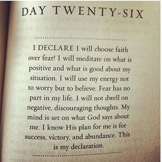 by Joel Osteen in 31 promises to speak over your life. Day 26 about fear.