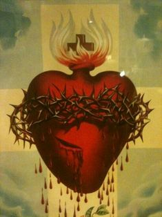Sacred Heart of Jesus Religious Icons, Religious Art, Sagrado Corazon Tattoo, Miséricorde Divine, La Passion Du Christ, Sacred Heart Tattoos, Brust Tattoo, Jesus E Maria, Jesus Christ Images