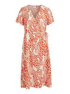 Deze damesjurk van VILA is gemaakt van een polyestermix en heeft een all over print. Het model beschikt over een striksluiting. De jurk heeft verder Short Sleeve Dresses, Dresses With Sleeves, Wrap Dress, Model, Prints, Fashion, Moda, Sleeve Dresses