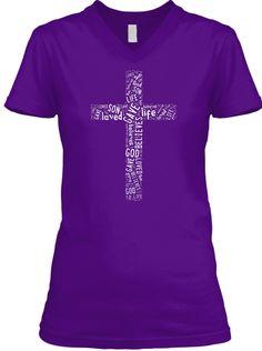 Cross is love - Purple  V-Neck Tee Front