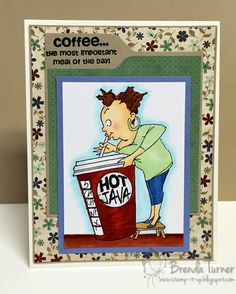 Art Impressions: Ai People: Cathy Caffeine Set ... Handmade coffee java themed card.