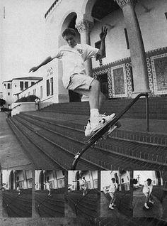 Skateboarding's first front board slide down a handrail by Julien Stranger.