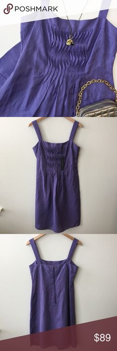 """🚨SALE! Elie Tahari Ruffle Linen Kendall Dress Elie Tahari Ruffle Linen Purple 'Kendall' Dress Size: 6 Retail: $298 💎NEW WITH TAG! No flaws. Lavender purple color. Ruffle pleated front. Exposed metal zipper in back. Thicker spaghetti straps with bra-keeper metal snaps. Square neckline. Knee-length. A-line skirt. Lightweight & breathable!  This dress is perfect for graduations, weddings, baby showers, & engagement photos! Linen/Rayon Blend. Fully lined. 🔹Bust: 34"""" 🔹Waist: 31"""" 🔹Hips: 42""""…"""