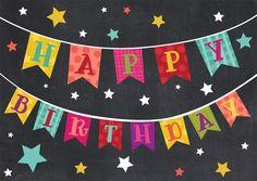 Happy Birthday banner - black & multi color - stars