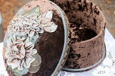 Gorgeous Brown Velvet Box with Ribbon Roses by ASoulfulJourney, $55.00