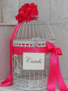 Birdcage Wedding Card Holder / Card Box / Wedding Birdcage Cardholder / Hot Pink Wedding Decor White Birdcage / Round Birdcage on Etsy, $65.00
