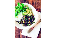Black lentil salad with tzatziki, avocado, and pea shoots - a simple and delicious spring salad bowl