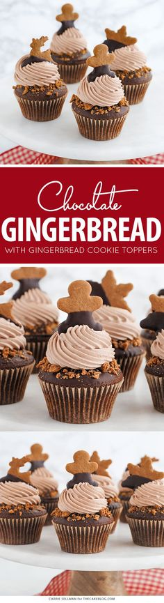 Chocolate Gingerbread Cupcakes | by Carrie Sellman for TheCakeBlog.com and @McCormickSpice | SpiceYourHoliday AD