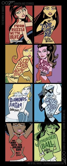 The Women of Marvel as James Bond Cover Girls