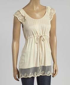 Look at this Simply Irresistible Beige Lace Ruffle Empire-Waist Tunic on #zulily today!