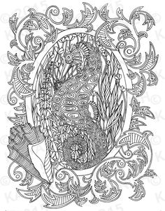 seahorse underwater adult coloring page gift wall art ocean line drawing