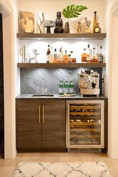 38 Gorgeous Small Kitchen Bar Design Ideas For Apartment Decor Mini Bars, Home Wet Bar, Bars For Home, Pantry Interior, Kitchen Interior, Home Bar Furniture, Furniture Ideas, Furniture Outlet, Rustic Furniture