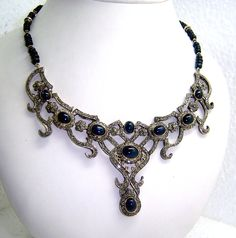 Nick has quite a collection of antique jewelry... to include this sapphire and black diamond Victorian Necklace - sent by @Jeannie Sigafoos