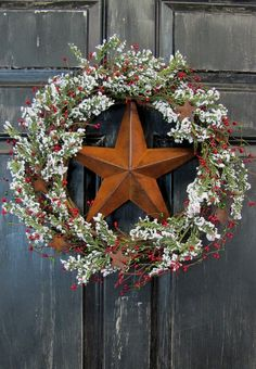 Rusty Tin Star & Berry Wreath  Winter Decor by Designawreath, $58.95