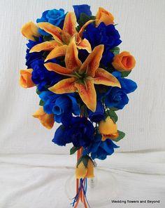 Royal Blue Malibu Blue and Orange Bridal by VanCaronCollection