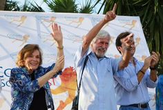 Sylvia Earle in Cozumel with Jean- Michel Cousteau at Cozumel's Scuba Fest