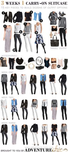 Capsule wardrobe 3 weeks of outfits / 1 carry on suitcase Mode Style, Style Me, Look Fashion, Womens Fashion, Fashion Tips, Travel Fashion, Fashion 2014, Fashion Spring, Cooler Look