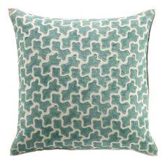 Amoeba Linen Overstitched Cushion Cover - Turquoise #cushion #oka #offer