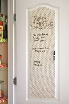 DIY dry erase message board with clear contact paper over paper