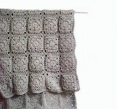 grey granny square blanket