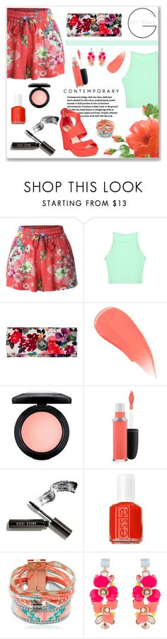 """Summer Florals"" by feelgood35 ❤ liked on Polyvore featuring LE3NO, Jessica McClintock, Burberry, MAC Cosmetics, Bobbi Brown Cosmetics, Essie, Hipanema, Accessorize and Bar III"