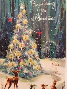 Vintage Woodlands Christmas Card ~ Pastels