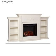 ELECTRIC FIREPLACE MEDIA CENTER HEATER CONSOLE TV STAND BOOKSHELF BOOKCASE WHITE SHELF #ELECTRIC #FIREPLACE