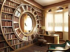 Unusual Library, it looks like a clock. Perfect for a enchanted / wonderland library!