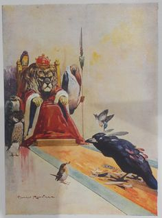 ''The Vain Jackdaw'' - Colour Plate by Harry Rountree - Aesop's Fables - c.1935
