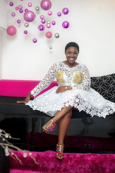 Emelia African Wear, African Attire, African Dress, African Print Fashion, African Fashion Dresses, African Lace Styles, Lace Dress, White Dress, Ghana