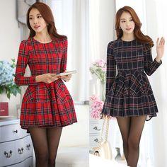 Korean Womens Round Collar Slim Long Sleeve Fashion  Plaids Cotton Blend Dress #Unbranded #TeaDress #Casual